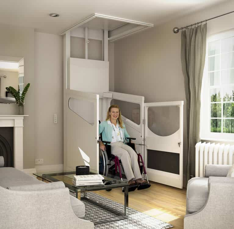 Harmony-Through-Floor-Home-Lift-Downstairs-with-Wheelchair-User